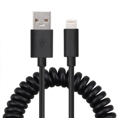 Gekrulde iPad Lightning kabel 1 meter zwart